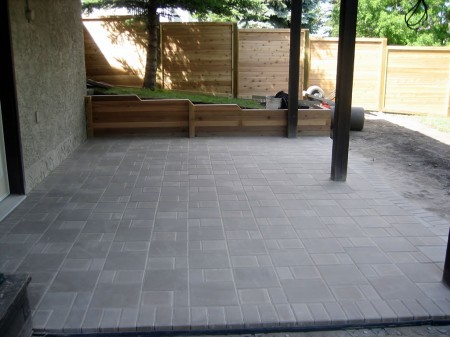 Basic Brick Patio with Cedar Walling