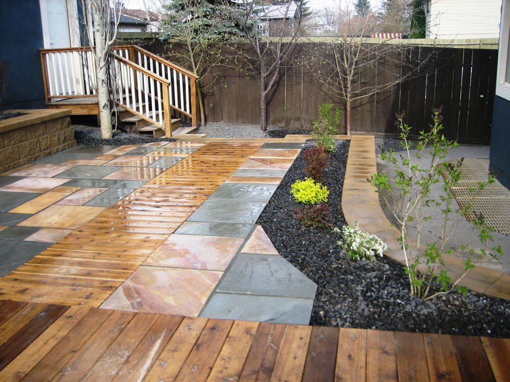 Cedar Decking Inset with Natural Stone Patio