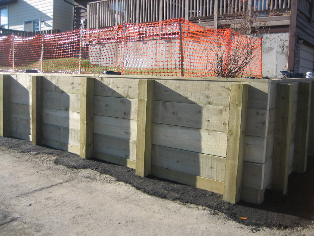 Large Wood Retaining Wall