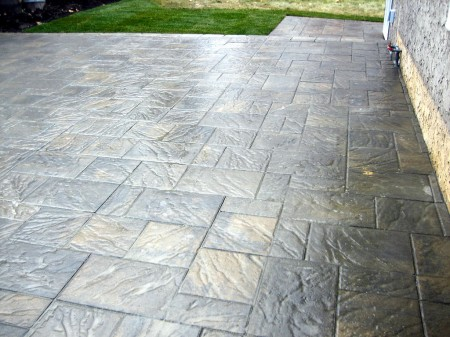 Large Tile Brick Patio in Random Pattern