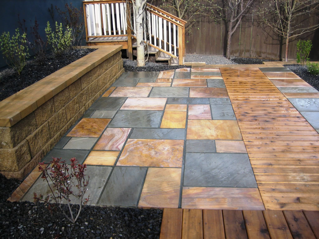 Natural Stone Patio Inset with Cedar Boardwalk