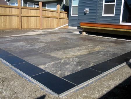Natural stone slab patio