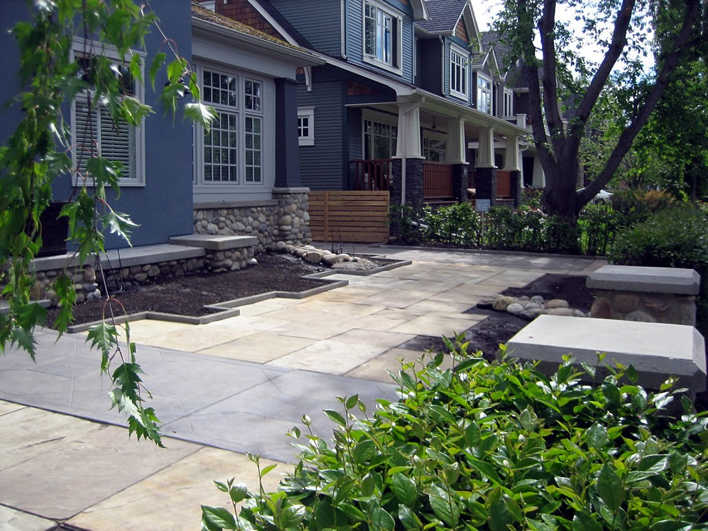 Natural stone slab patio and beds