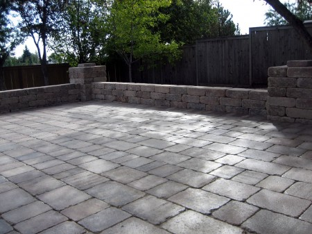 Roman Patio with Seating Wall