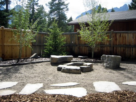 Rundle Stone Firepit and Pathway
