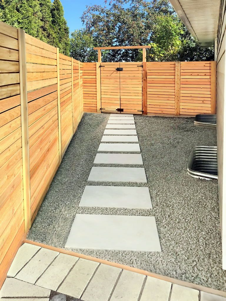 Slab Walkway With Double Cedar Gate