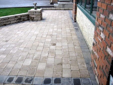 Small Brick Patio with Seating Wall