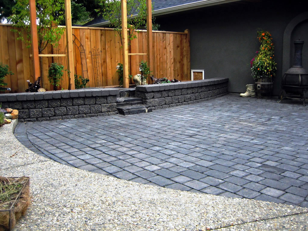 Tumbled Stone Patio on Calgary Infill House