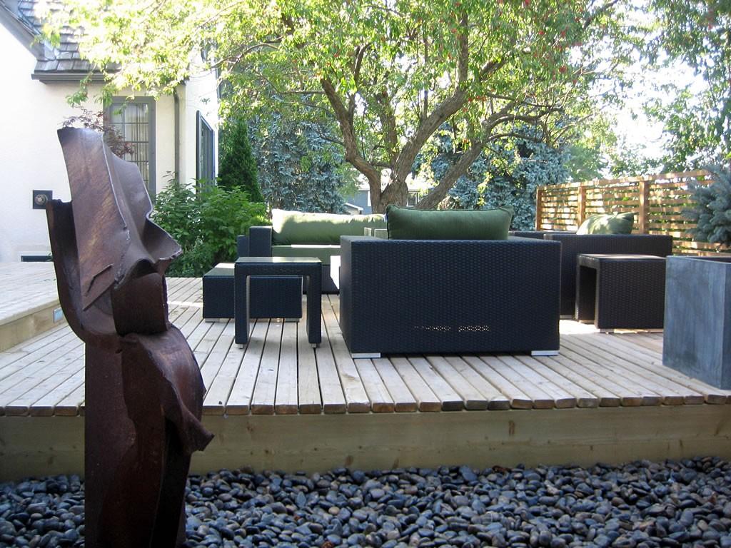 Wood deck sitting area