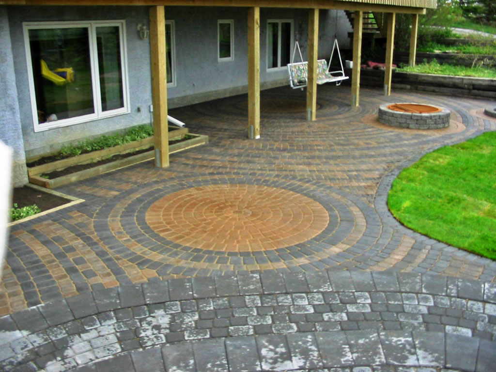Large Brick Patio with Firepit - Morgan K Landscapes on Backyard Brick Pavers id=61215